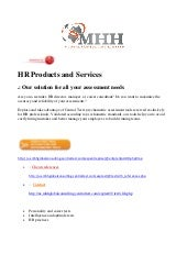 MHHGC & CT : HR Products And Se...