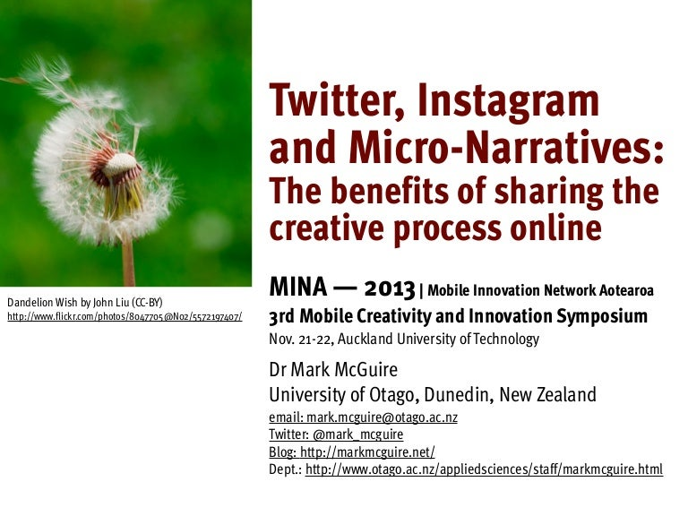 Twitter, Instagram and Micro-Narratives: The benefits of sharing the creative process online
