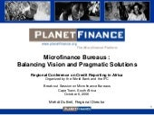 Credit Bureaus in Microfinance