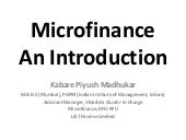Microfinance An Introduction