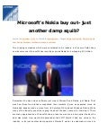 Microsoft's Nokia buy out- just another damp squib?