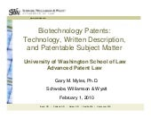 Biotechnology Written Description, ...