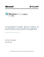 Microsoft Windows Azure - Developer...