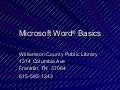 Microsoft Word Basics