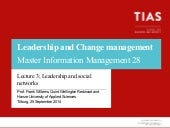 Lecture Master of Information Management about Leadership and Change management