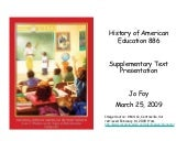II. History of American Education I...