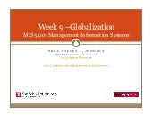 MIS5001 Week 9  Globalization