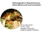 Mismanagement of Natural Resources: States, businesses and communities