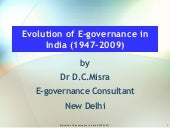 Misra,D.C.(2009) Evolution of E Gov...