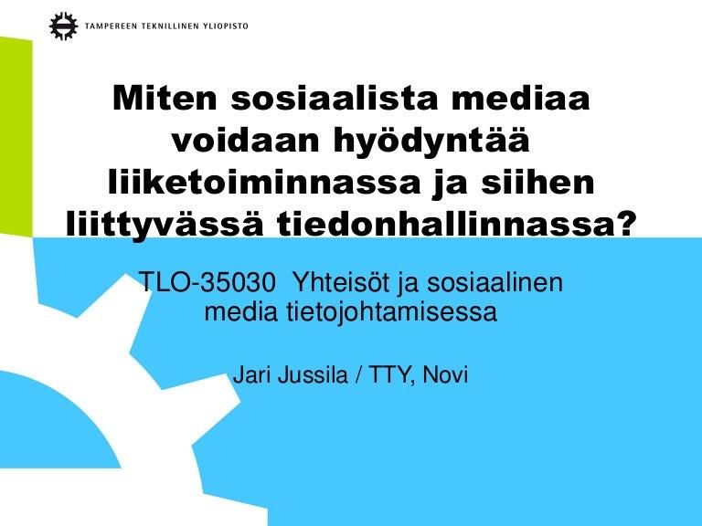 > </p><p>Miten sosiaalista mediaa voidaan hyödyntää liiketoiminnassa ja siihen liittyvässä tiedonhallinnassa? Luento 3.4.2014 Yhteisöt ja sosiaalinen media tietojohta...</p><p><a href=