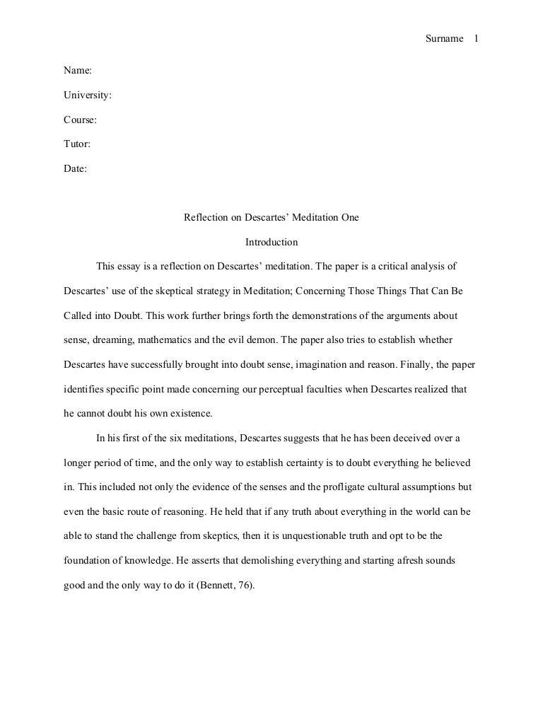Apa reflective essay example