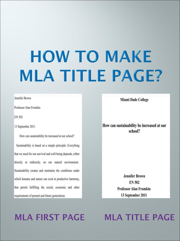 mla format with title page