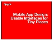 Mobile App Design Best Practices - Usable Interfaces for Tiny Places