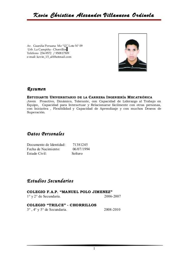 Vistoso Muestra Resume Estudiante De Secundaria Embellecimiento ...