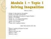 Module 1 solving inequalities notes