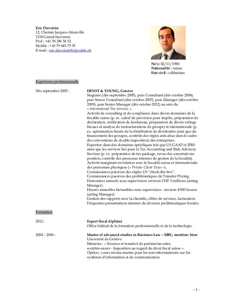 exemple cv suisse frontalier