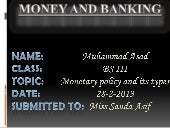 Monetary policy AND TYPES