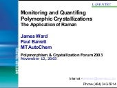 Monitoring and quantifing polymorph...