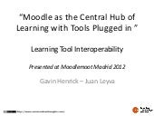 Moodle as the central hub of learning with tools plugged in –learning tool interoperability