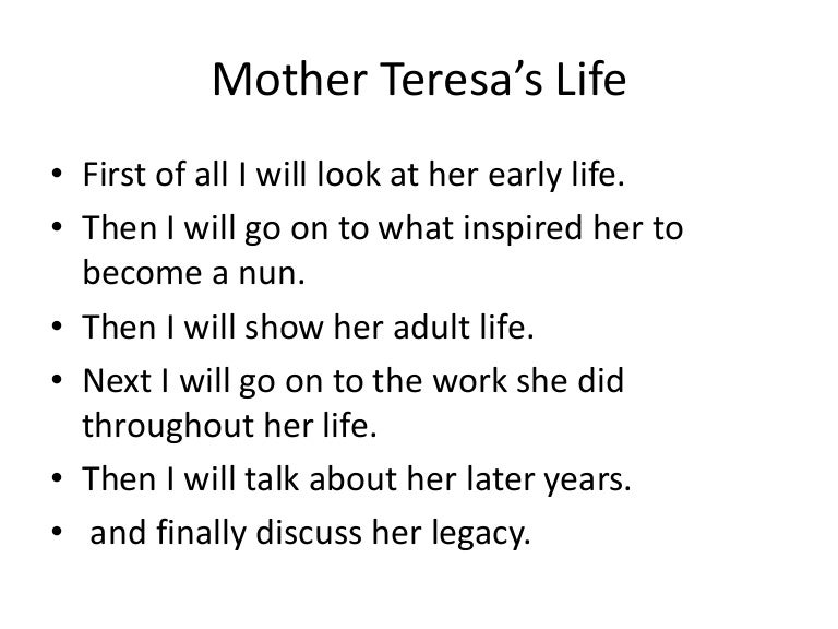 Essay about mother theresa