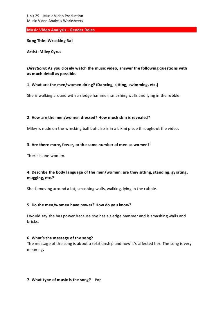 Music video analysis worksheet