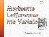 Movimento Uniformemente Variado - E...