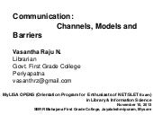 Communication: Channles, Models and...