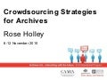 Crowdsourcing Strategies for Archives, Nov 2010