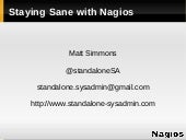 Staying Sane with Nagios