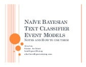 Naive Bayesian Text Classifier Event Models