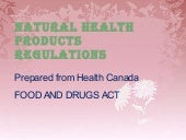 Natural Health Products Regulations...