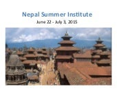 Tulane Payson Center for Development: 2015 Nepal Global Development Summer Institute