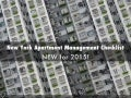 2015 NYC Apartment Management Checklist
