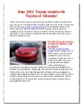New 2013 Toyota models hit Toyota of Orlando
