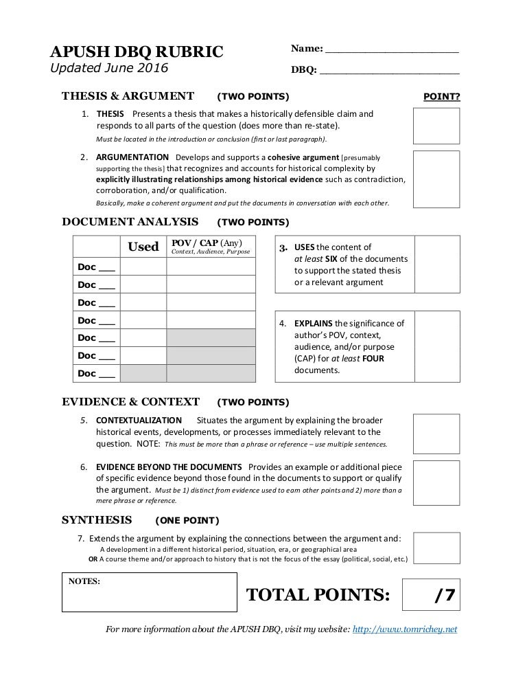 Ap us history essay rubrics