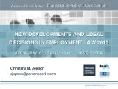 New Developments and Legal Decisions in Employment Law 2015