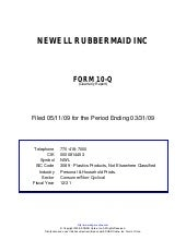 Q1 2009 Earning Report of Newell Ru...