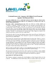 News Release:  Lakeland Resources Inc. Announces $1.8 Million Private Placement, Appoints Chief Financial Officer