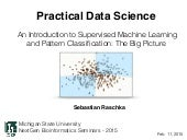 An Introduction to Supervised Machine Learning and Pattern Classification: The Big Picture