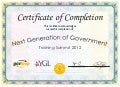 Next Generation of Government Training Summit 2012 Certificate of Completion
