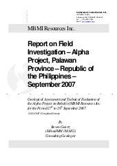 Report on Field Investigation - Alp...
