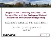 RDAP 15: Virginia Tech University Libraries' Data Service Pilot with the College of Natural Resources and Environment