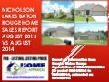 Nicholson Lakes Subdivision Baton Rouge Home Sales Report August 2013 vs August 2014