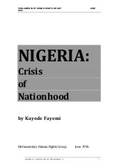 Nigeria:  Crisis of Nationhood
