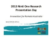 Ninti One research presentation day...