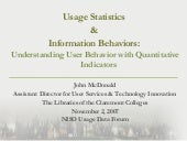 Usage Statistics & Information Behaviors: understanding User Behavior with Quantitative Indicators