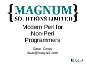 Modern Perl for Non-Perl Programmers