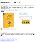 Norton 360 2013   1 user   3 pc