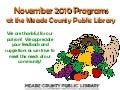November 2010 Programs at the Meade County Public Library