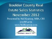 Boulder Colorado Real Estate Statistics Novmeber 2012